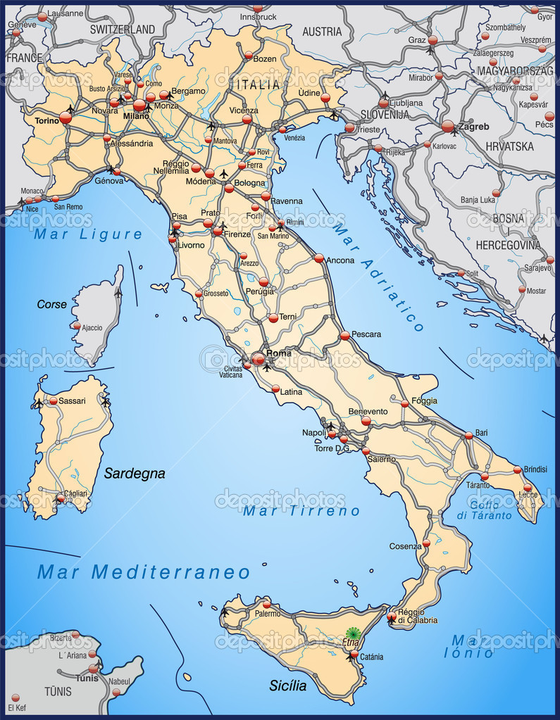 Map Of Italy With Main Cities.Highway Map Of Italy In Orange Stock Vector C Artalis 9556660