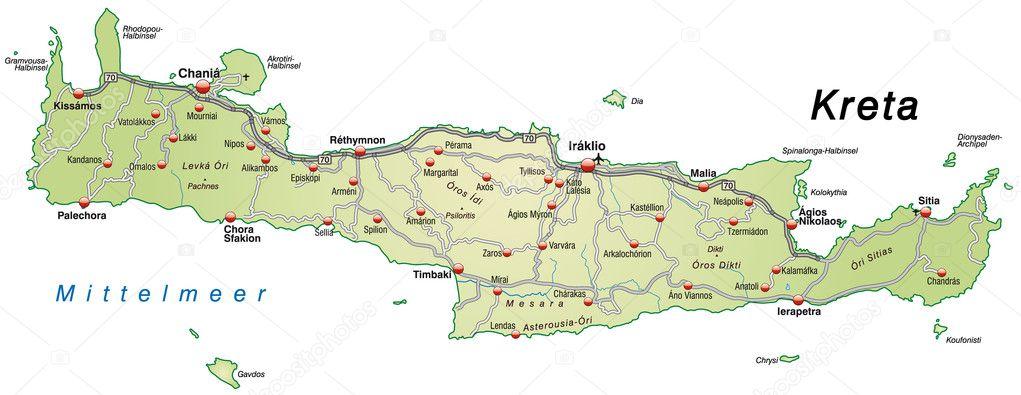 karta över kreta karta över Kreta med motorvägar i grönt — Stock Vektor © artalis  karta över kreta