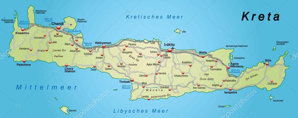karta över kreta karta över Kreta med motorvägar — Stock Vektor © artalis #9556697 karta över kreta