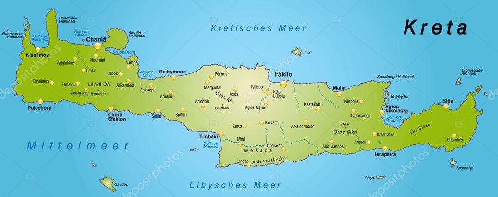 Map Of Crete Stock Vector C Artalis 9556699