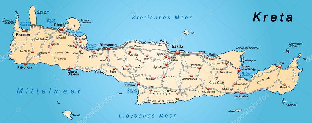 Map Of Crete Stock Vector C Artalis 9556700