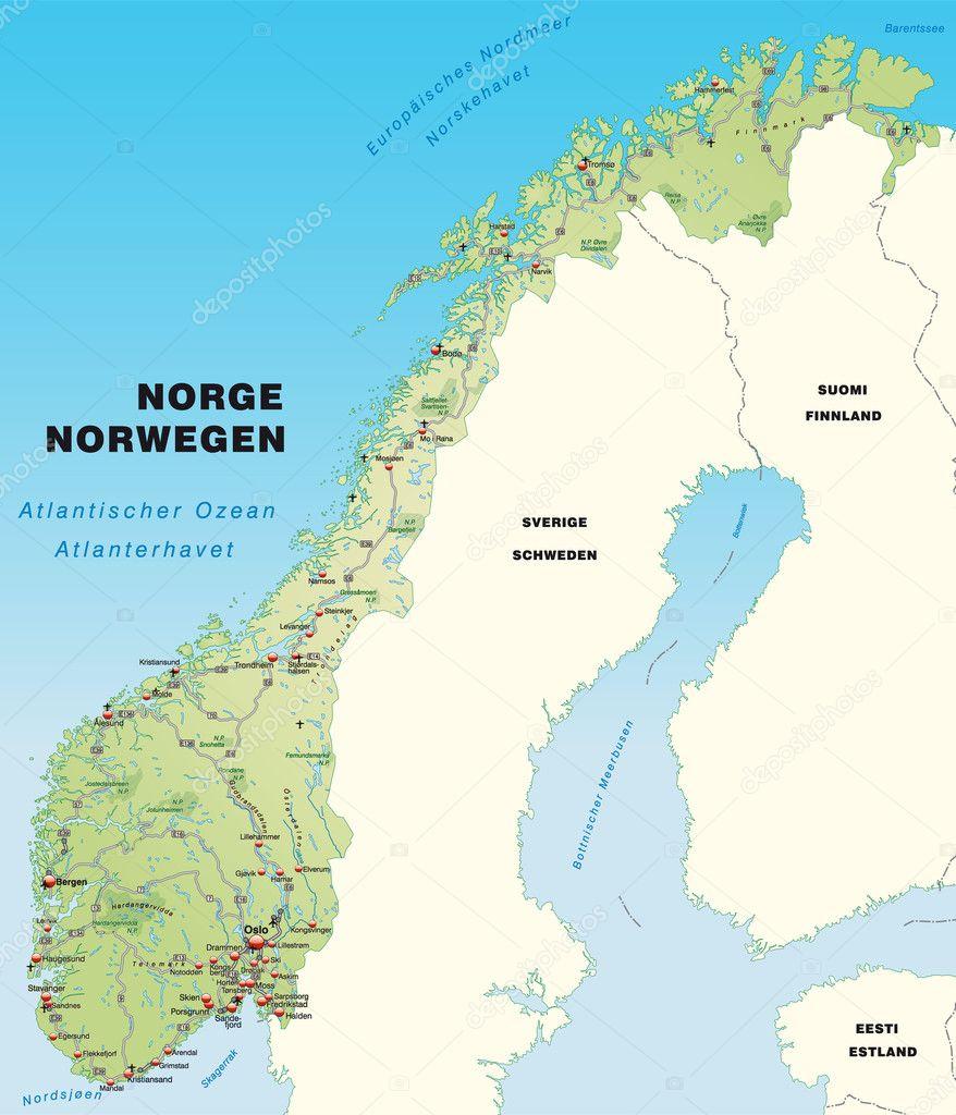 karta över norge karta över Norge — Stock Vektor © artalis #9556704 karta över norge