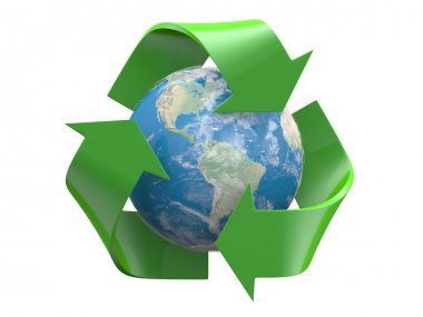Recycle logo with earth globe inside isolated on a white background