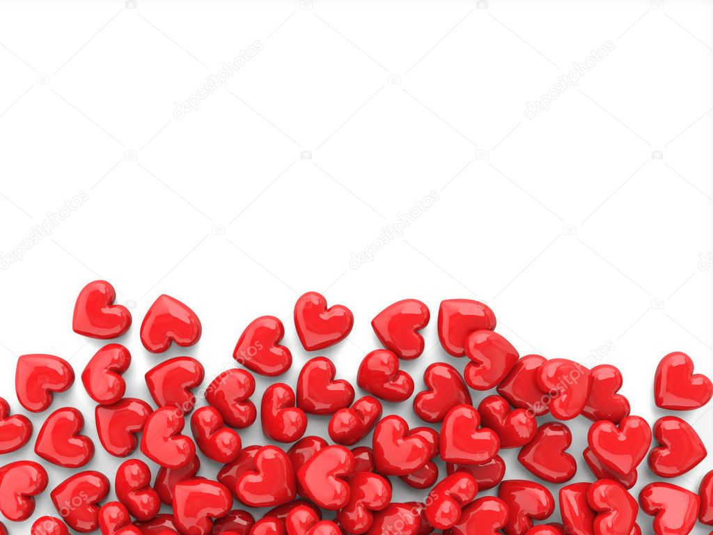 Valentines Background With Red Hearts Isolated On A White Background U2014  Stock Photo #8290928