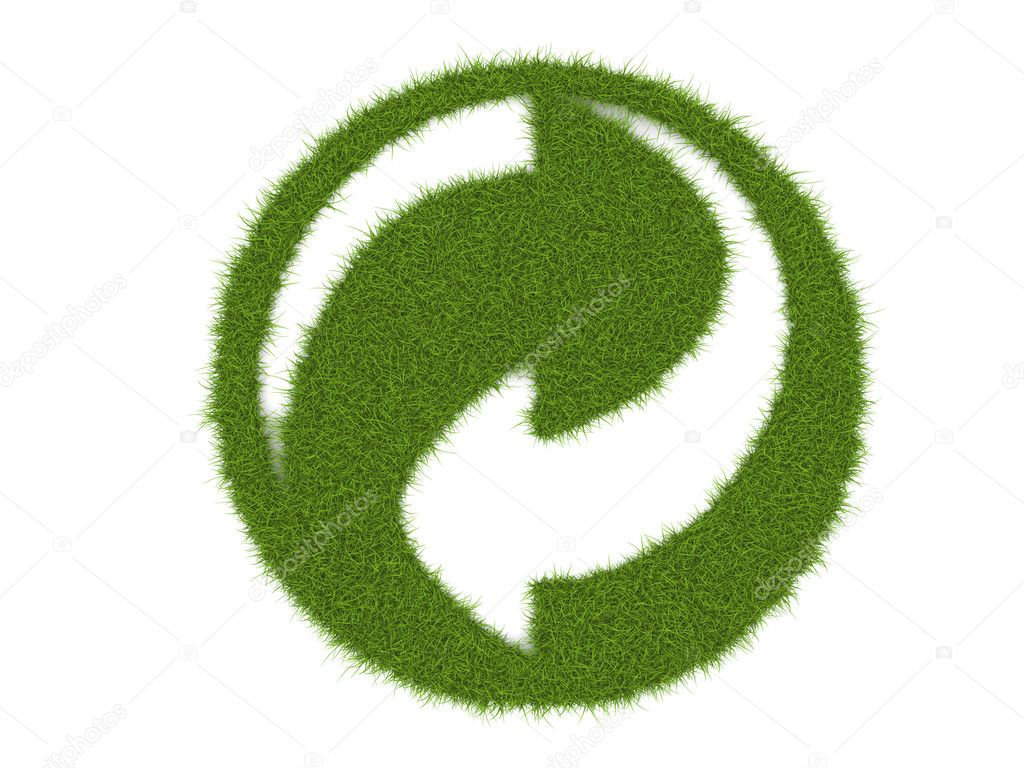 Growing grass forming recycle logo