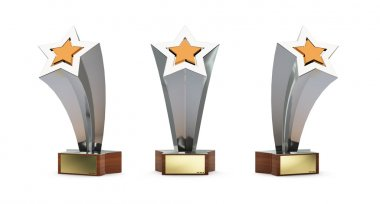 Star trophy with a golden plate for custom text isolated on whit