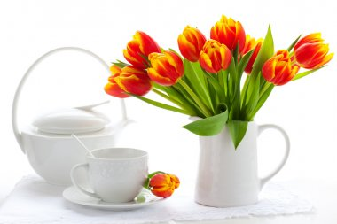 Red tulips and tea