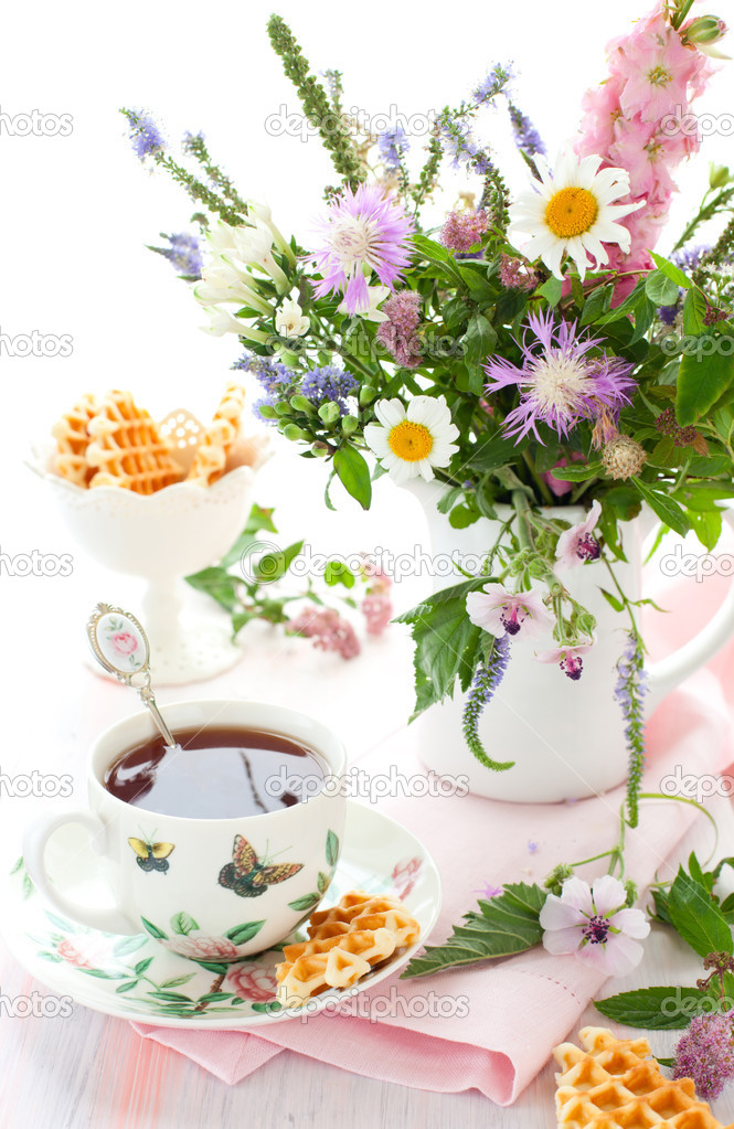 Tea,waffles and flowers