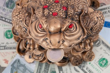 The frog is sitting on the money. The money toad on the dollar a