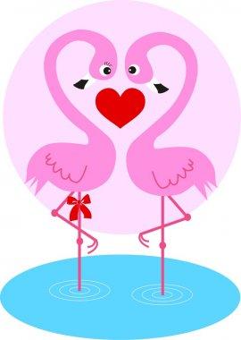 Two flamingo birds in love clip art vector