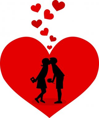 A young couple in love clip art vector