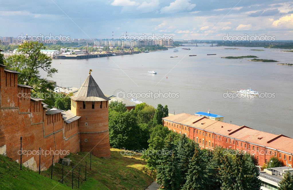 View to Strelka from Nizhny Novgorod Kremlin in Russia