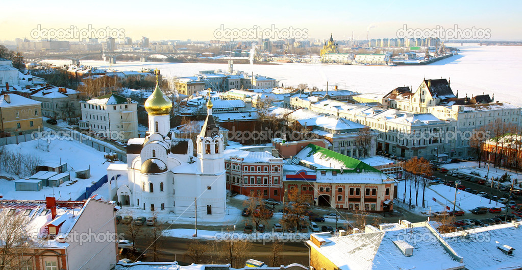 Panoramic January view of Nizhny Novgorod Russia