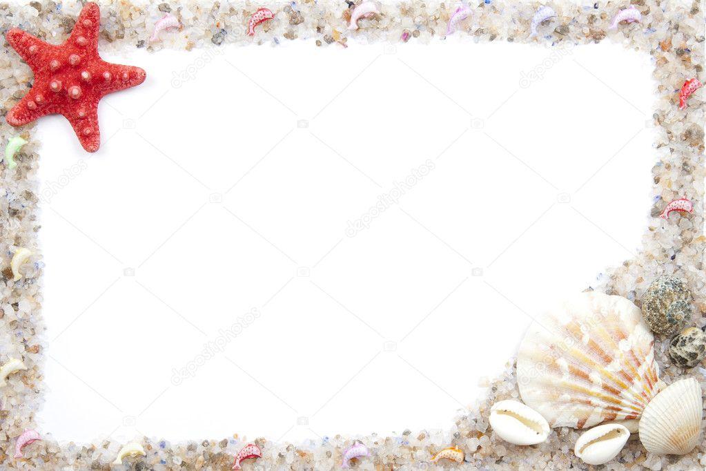 der Rahmen des Meeres Salz und Sand mit Muscheln — Stockfoto ...