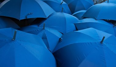 Blue umbrellas