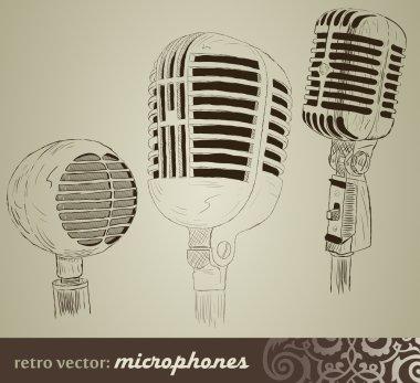 Retro set: Microphones in doodle style