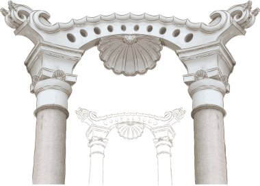 Classic arch and columns sketch