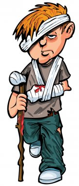 Cartoon injured white man with walking stick and bandages