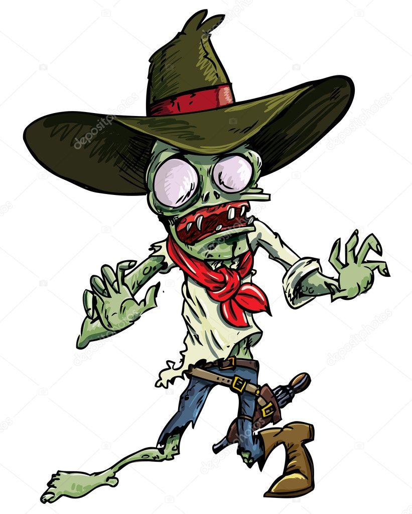 Zombie di cowboy dei cartoni animati con cappello e