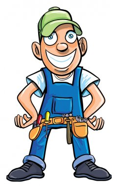 Cartoon handyman with tools.