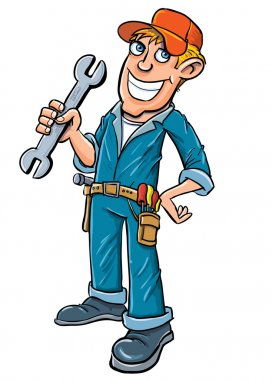 Cartoon plumber holding a wrench