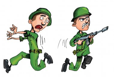 One soldier attacking and one running from the enemy stock vector
