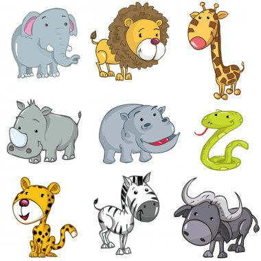 Set of cute cartoon animals
