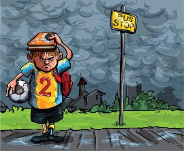 Cartoon of schoolboy caught in the rain