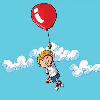 Cartoon of a boy hanging onto a baloon