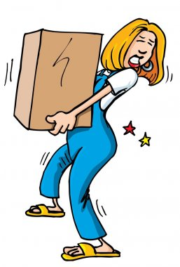 Cartoon of woman picking up a heavy box