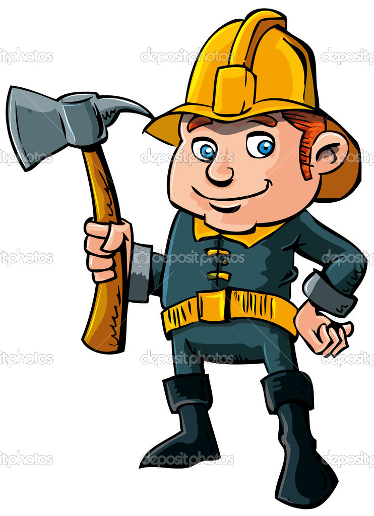 Cartoon fireman with axe — Stock Vector © antonbrand #8033053