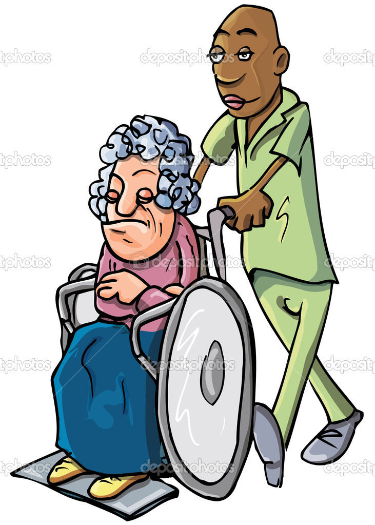 Cartoon Of An Orderly Pushing An Old Lady Stock Vector