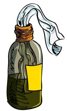 Illustration of molotov cocktail bomb