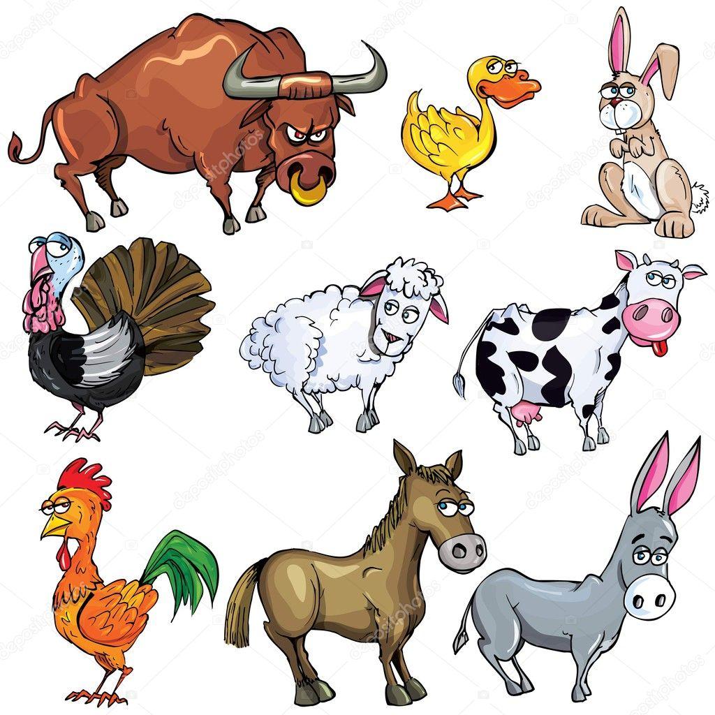 Cartone animato impostato di animali da fattoria