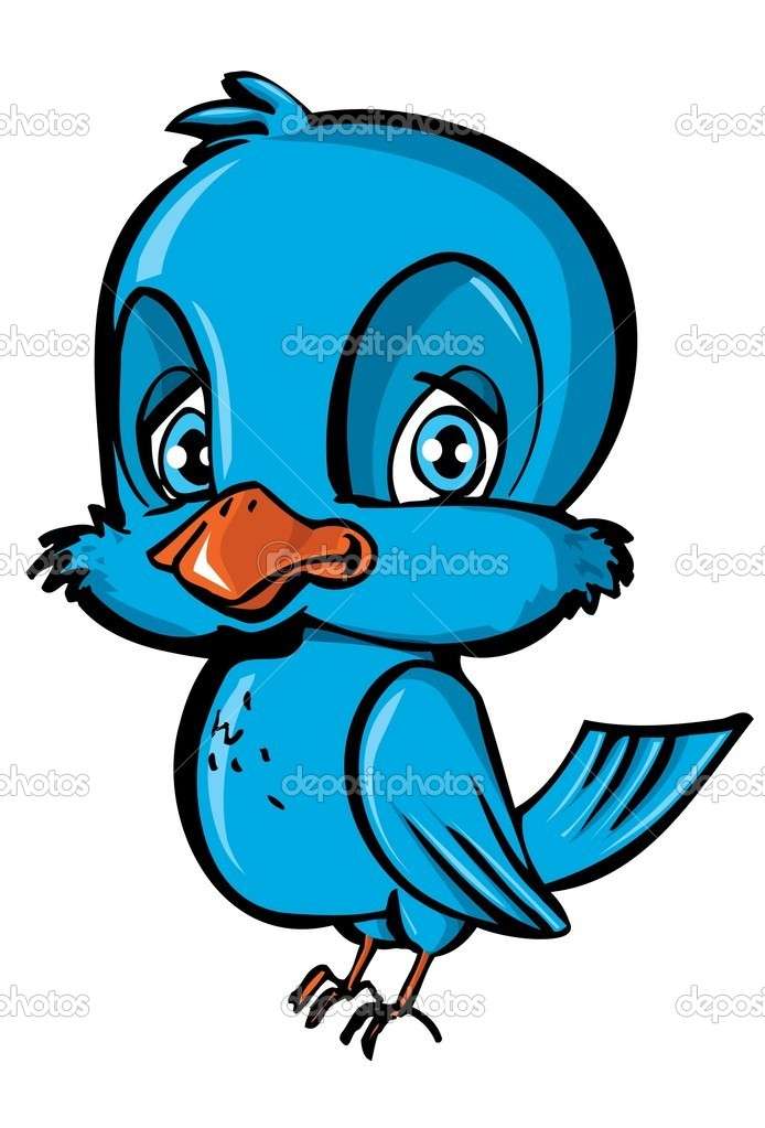 Cartone animato dell uccello blu — vettoriali stock