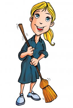 Cartoon lady cleaner with a broom