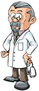 Cartoon doctor in white coat. Isolated on white clip art vector
