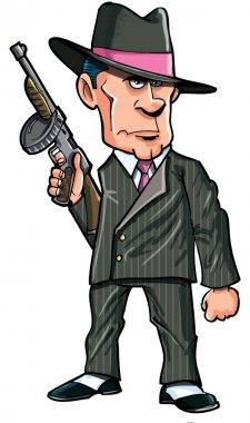 Cartoon 1920 gangster with a machine gun