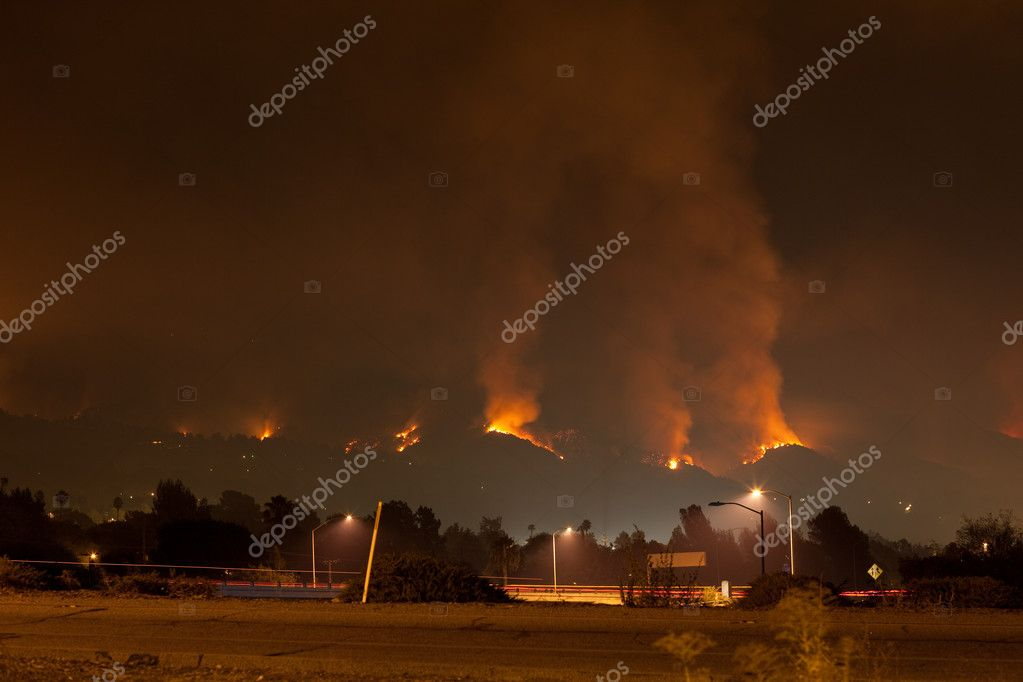 Raging Wildfire In Hills