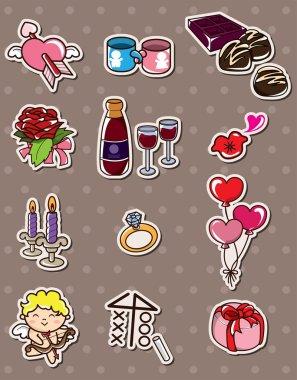 Valentine's Day stickers clip art vector