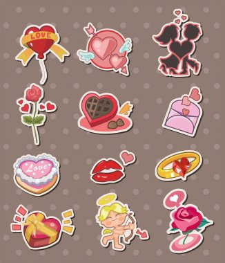 Cartoon Valentine's Day stickers clip art vector