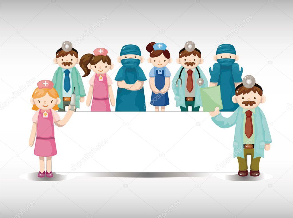 Carta cartone animato di medico e infermiere — vettoriali