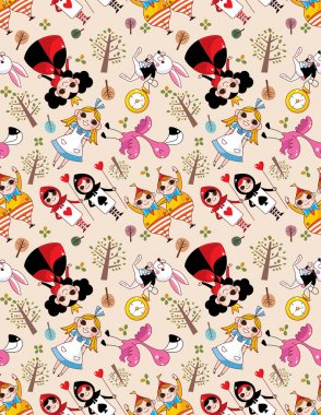 Seamless Alice in Wonderland pattern stock vector