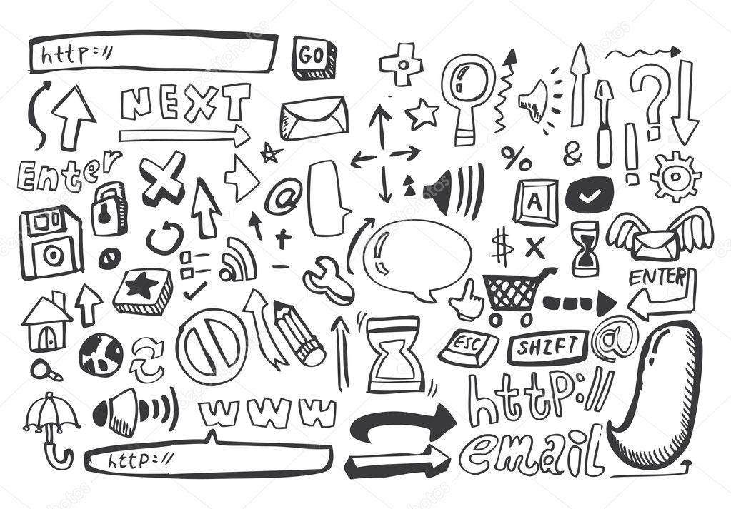 hand draw web icon,vector