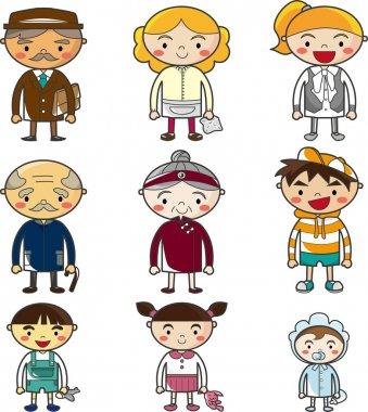 Cartoon family icon set