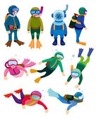 Fotografie cartoon diver icons