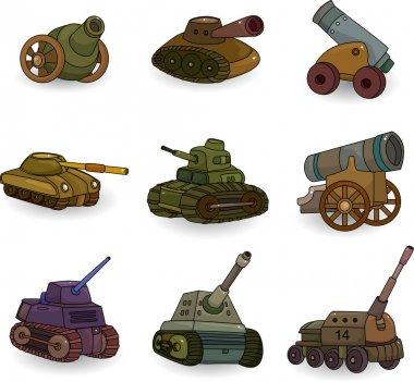 Cartoon Tank Cannon Weapon set icon