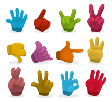 Cartoon color Hands collection ,vector