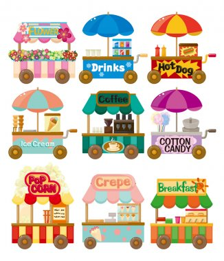 Cartoon market store car icon collection stock vector