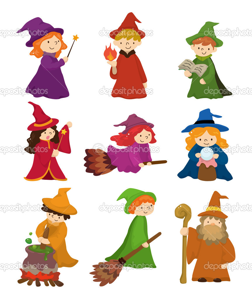 cartoon wizard and witch icon set u2014 stock vector mocoo2003 8290414